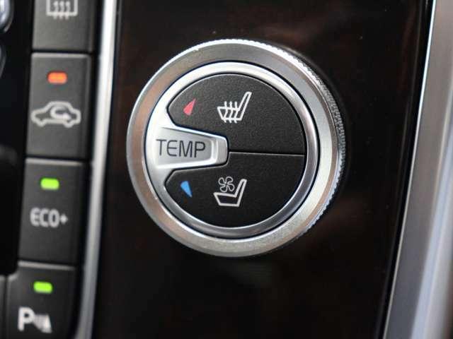 フロントシートには、厳寒の地、北欧スウェーデン発祥のブランドならではのアイテムであるシートヒーターに加え、シートエアコンも装備しています。