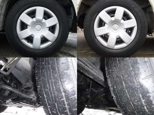 現在のタイヤの状態はラジアルタイヤ!フロント1分山.リヤ1分山程度です。スタッドレスの購入、タイヤ交換他ご相談下さい。