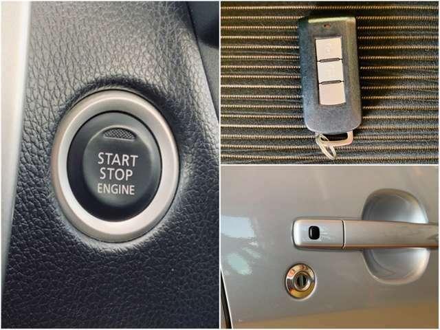 人気快適装備のスマートキー&プッシュスタート。エンジンの始動時やドアの施錠・解錠時にもキーは携帯するだけでOKです。