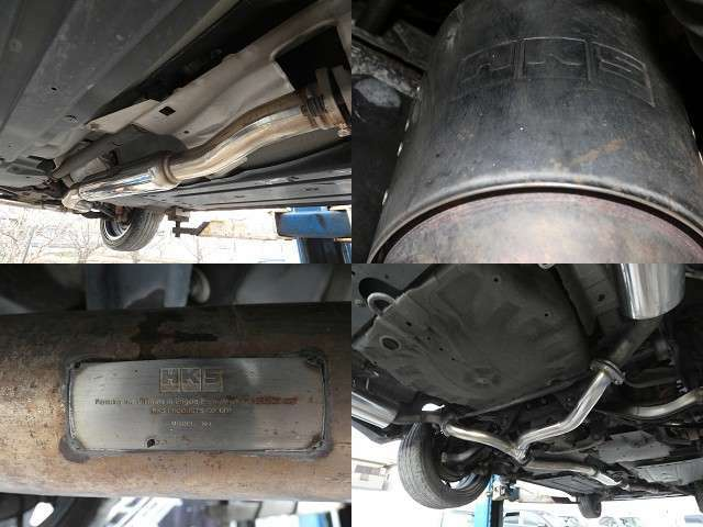 KHSのフロント中間マフラー装着!ガスレポートも車検証入れに備え付けですので車検も安心です。