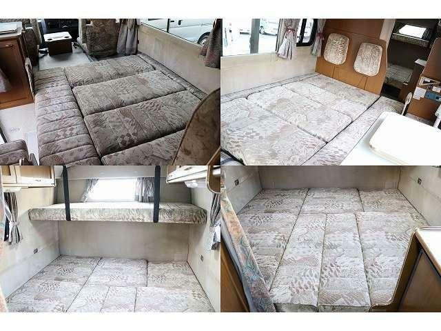 ベッドサイズ、ダイネット190×140 後部ダイネット190×190 二段ベッド190×70 就寝目安7人となります。