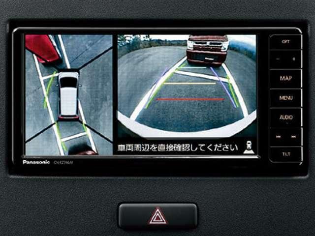 Aプラン画像:全方位モニター用カメラパッケージ装着車なら【全方位モニター用カメラパッケージ装着車】対応ナビに。くわしくはスタッフにお問い合わせください。