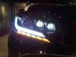 夜間のヘッドライト点灯時は、ご覧のようにスモールライトが光ります。ウィンカーは最先端の流れるウィンカー仕様です!