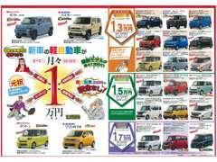 ピカピカ新車の軽自動車を7年間、車検・自動車税・ロードサービス・諸費用全部込みで月々1万円(税別)お気軽にご相談ください。