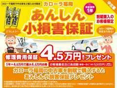 割賦購入特典!納車日から1年間、ドアミラーやガラス、バンパー等、車対物の損害やいたずらを5万円まで保証(免責5千円)
