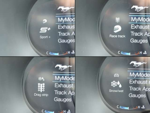 電子制御による走行モードも変更できます!ノーマルモード~レーストラック(サーキット専用)モードなどマスタングのスペックをフルにお楽しみ頂けるアグレッシブなシステムです!