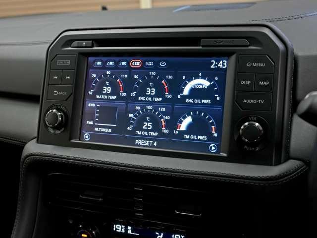 標準装備のマルチファンクションディスプレイ。各種メーターの他、HDDナビ&フルセグTV&Bluetooth接続が装備されています。