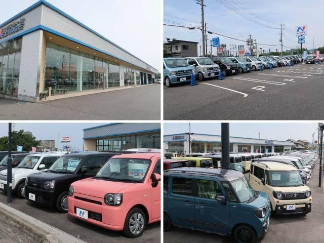 大きなNマークの看板が目印!広々とした駐車場をご用意してお待ちしております。展示場には豊富な在庫をご用意。メーカー問わず比較していただけます