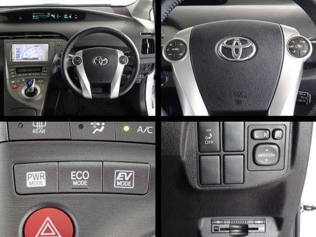 ステアリング付属のスイッチでオーディオの操作が可能です。高速道路で便利なETCを装備してます。