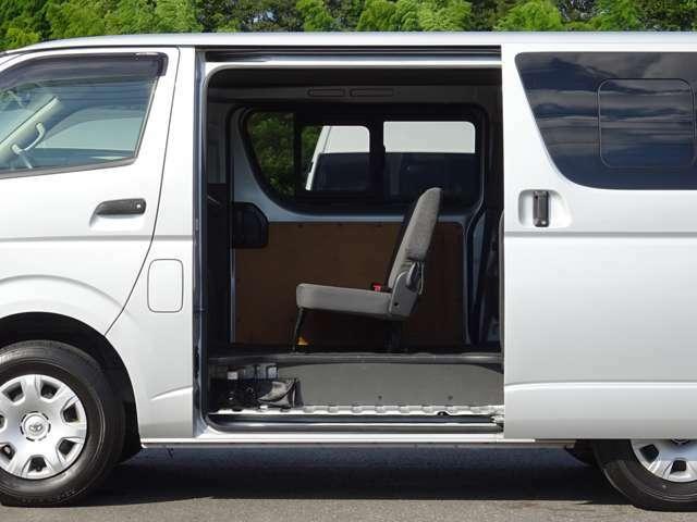 両側スライドドア(スライド式リヤサイドガラス付)です。左側乗降口のステップに車載工具+専用ジャッキが装備されています。
