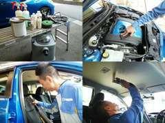 仕入時は専用の洗剤でエンジンルームから車内の天井、シートの隅々まで高温高圧除菌を行い、外装部分もくまなく磨いていきます。