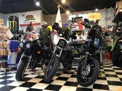 当店ではバイクも販売しております。カスタムのご相談や在庫に無いバイクのご注文もお気軽にどうぞ!!