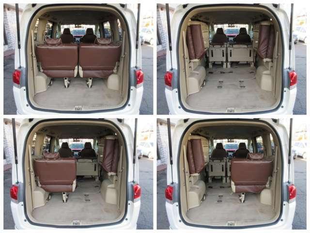 ラゲッジスペースは後部座席を跳ね上げると更に広々とした収納スペースが確保出来ます♪フロアもフラットになりますので荷物の出し入れもラクラクです♪好みの用途に応じてシートをアレンジして下さい♪