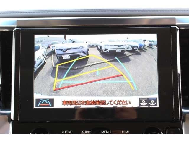 ハンドル連動のバックガイド付バックモニターです。コーナーセンサーも付いているので駐車も安心です♪