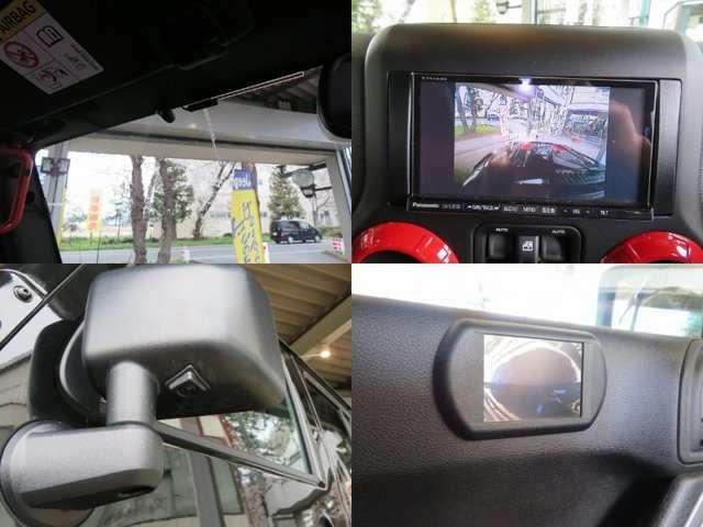 フロントカメラ+モニター、左サイドカメラ+モニター