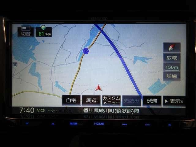 ナビ装着車で知らない道もラクラク*品番は、KenwoodMDV-S707です。
