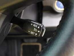 高速のロングドライブでドライバーの負担を軽減、意外と燃費節約に威力を発揮するクルーズコントロール付です。