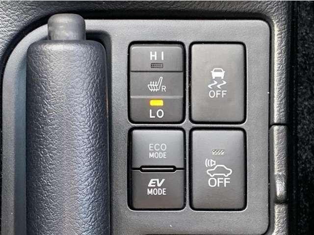 シートヒータースイッチ、TRCオフスイッチ、エコモードスイッチ、EVモードスイッチ、車両接近通報装置一時停止スイッチ