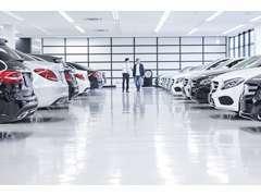 メルセデスの豊富な車種を多数ラインナップした屋内展示場。