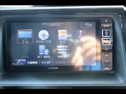 アルパイン7型SDを装備。フルセグTV、ブルートゥース接続、DVD再生可能、音楽の録音も可能です。