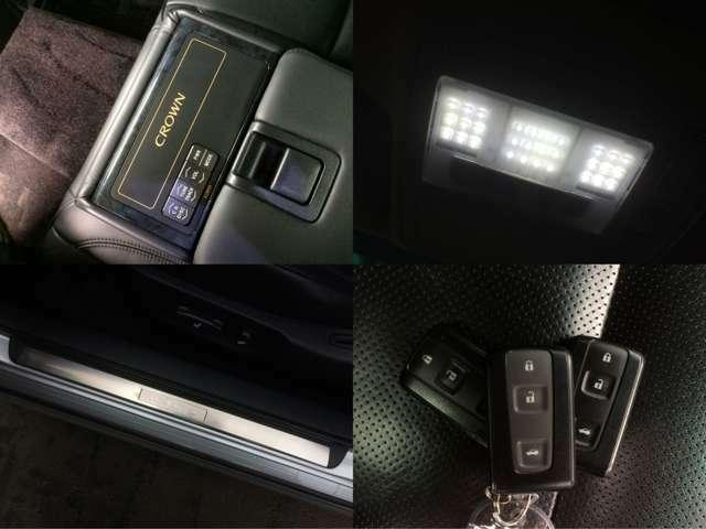 【左上】2列目シート専用のオーディオ操作パネル 【右上】LED灯も完備した室内灯 【左下】お洒落なロゴ入りスカッフプレート 【右下】スマートキー対応