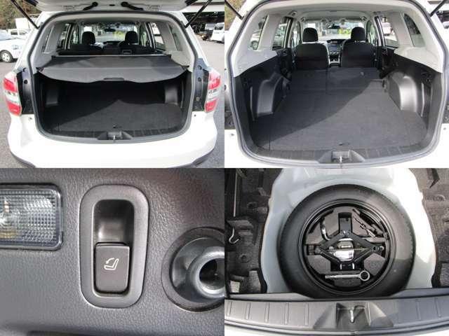 ラゲッジルーム リヤシートを左右可倒すれば、フラットで大きなスペースを確保出来ます。 可倒もレバーでワンタッチ トノカバー&スペアタイヤ付です。