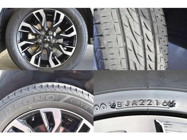 純正18インチアルミホイール(ラウンドリムタイプ)&225/55R18(BRIDGESTONE製レグノGRVII)タイヤ装着※タイヤ残り溝:フロント4mm・リヤ4mm