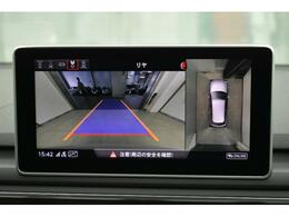 ●リアビューカメラ『入車経路を算出し、ガイドラインと補助線をディスプレイに表示します。同時にバンパーに内蔵のセンサーが障害物を感知し音で注意を促します。後方の死角も安心していただけます。』