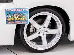 新品20インチアルミホイール&新品タイヤ装着車!ローダウンサスペンションでお洒落にローダウン!ホイールデザインの換装可能です!スタッフまでお尋ね下さい!