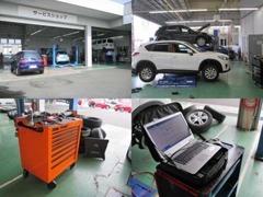 自店舗で車検もできます。サービススタッフも常に技術の向上を持って、整備に当たっております。