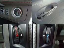 プッシュスタート付きですのでエンジンの始動からドアロックの開閉に鍵の使用が無く便利です。本革シートはエアシートになりますので冷暖房機能付きになります。