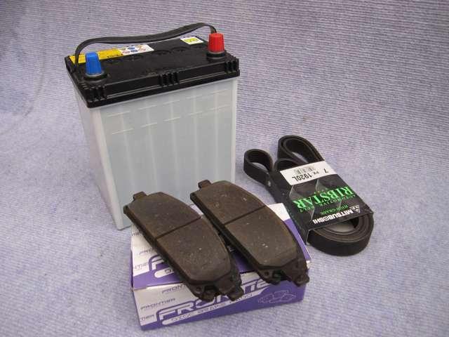 Aプラン画像:プラス5万円でバッテリー、ベルト、前後ブレーキパット、キーレス電池、ワイパーゴム、エアコンフィルターを交換してます。ご購入のお客様の大半の方にご利用頂いております。