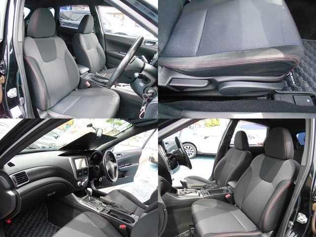 シートはレッドステッチ入りブラック&グレーカラーです!!フロントシートはホールド感がありロングドライブでも疲れにくい設計です!!運転席にはシートリフレクター付きでお好きなポジションに設定可能です!!!