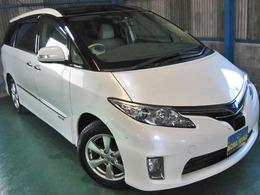トヨタ エスティマハイブリッド 2.4 G 4WD プリクラWナビFSBモニタWSR寒冷LKAサイドAB