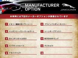 こちらのジャガーE-PACEはご覧のオプションが装備されております。オプション充実したオススメな1台です。