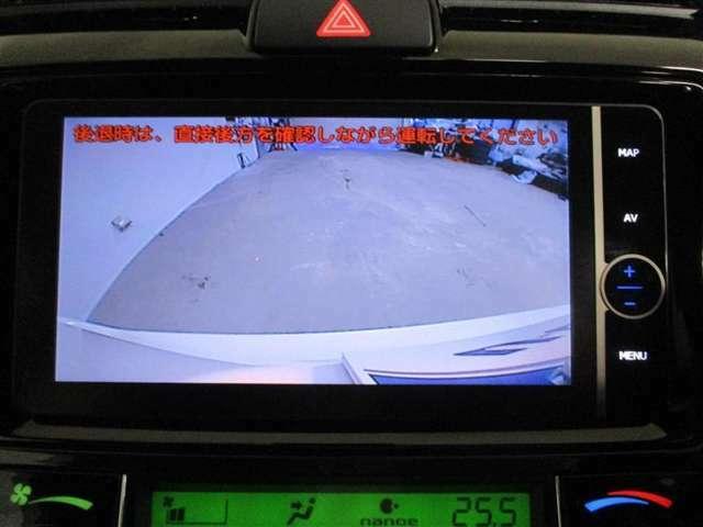 バックでの駐停車時の後方確認ができて助かるバックモニター付き!