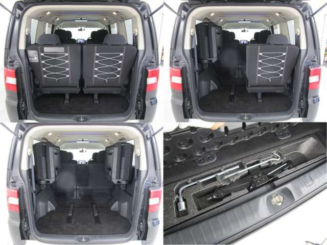 サードシートは左右に跳ね上げできます。隅々までたっぷりと収納でき、車中泊やアウトドアなどにも大活躍ですね