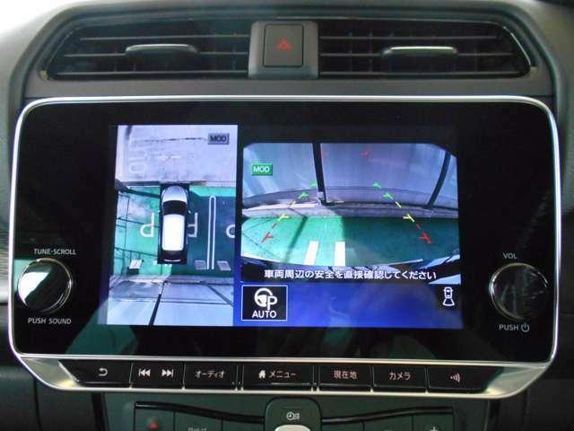 インテリジェント アラウンドビューモニター。上空から見下ろしている様な映像をモニターへ映し出し、スムーズな駐車をサポートします。さらに障害物検知センサー反応すると、警告表示、警告音により注意を促します