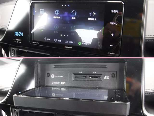 「Bluetooth」でデジタル機器の接続が可能です。目的地設定など、タッチパネル式でラクラク操作!ナビ画面が開き、CDなどの再生ができます。好きな音楽を聴きながら、快適なドライブをどうぞ。