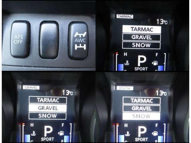 4WDのモードは路面状況に応じて3パターンから選択できます!!