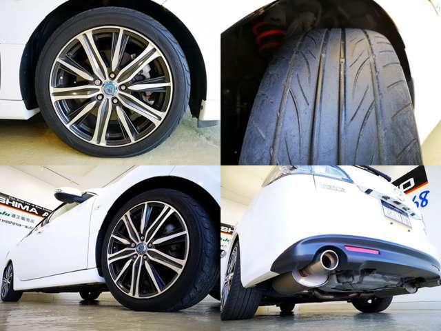 オートエグゼ製 サスペンション マフラー装着 社外品18アルミも素敵、タイヤは交換時期ですね、只今ネット閲覧優遇キャンペーンで延長保証加入とボディーコーティング施工でタイヤ4本新品サービスいたします、