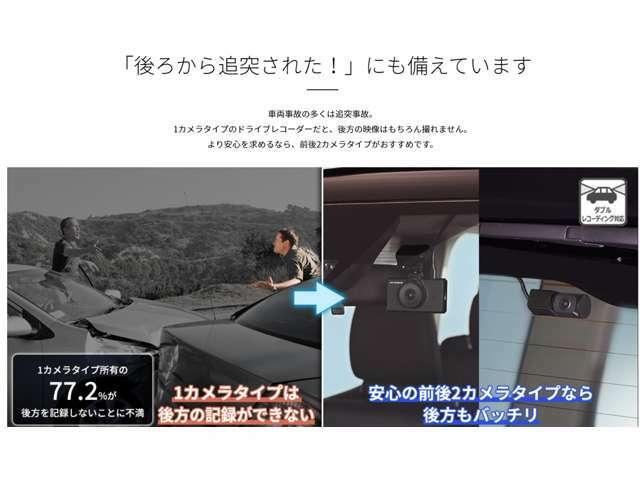 車両事故の多くは追突事故。1カメラタイプのドライブレコーダーだと、後方の映像はもちろん撮れません。より安心を求めるなら、前後2カメラタイプがおすすめです。