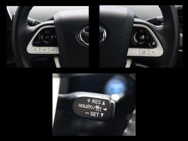 ステアリングから手を離すことなくオーディオやインフォメーションディスプレイの操作が出来ます!全車速追従型クルーズコントロール付!