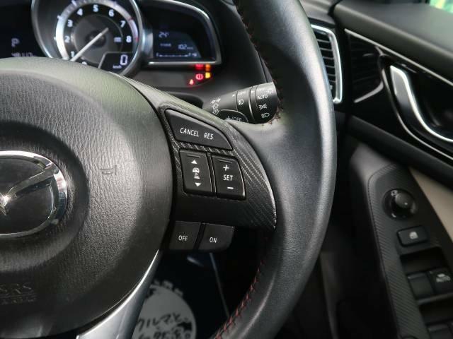 【マツダ・レーダークルーズコントロール】高速道路での長距離走行が楽に!自動で速度を保つクルーズコントロールが、衝突軽減システムと連携し、前方の車両を感知して車間を保つように速度調節してくれます!!