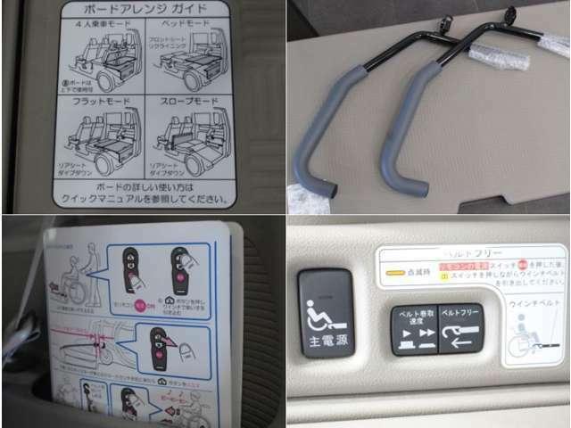 【スロープ操作説明書】説明書も車内にあるので、初めて使うときにも安心です。大切な家族とも気楽にお出掛けができるよう車がお手伝いします!