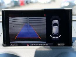 車両後方の映像を映し出し、舵角に基づいて計算された経路を画面に示して駐車操作をサポートします。