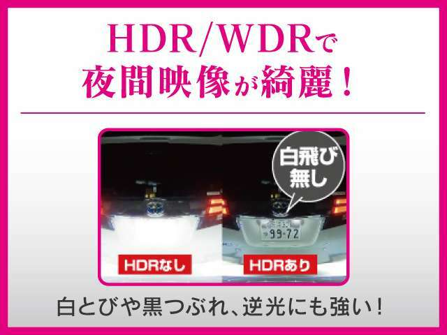 Bプラン画像:白飛びや黒潰れ、逆光にも強いHDR/WDRで夜間の映像もキレイです。