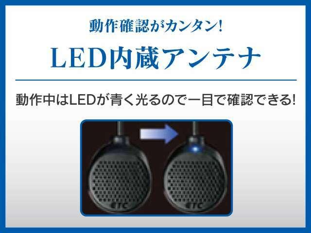 Aプラン画像:動作確認が簡単なLED内蔵アンテナを採用。動作中はLEDで青く光るので一目で確認できます。