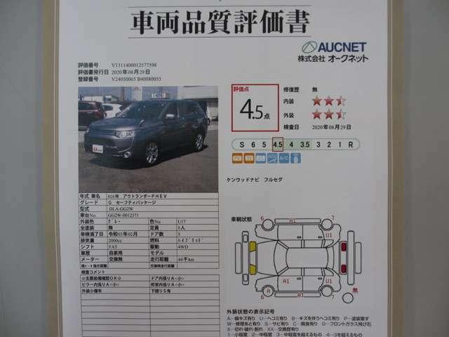 【車両品質評価書を掲載中!】 お車の内外装のコンディションの状態を一目で確認できる車両品質評価書を掲示しております。 第三者機関による厳しい査定で隠れた修復歴も見逃さない良質な商品の提供を心掛けます!