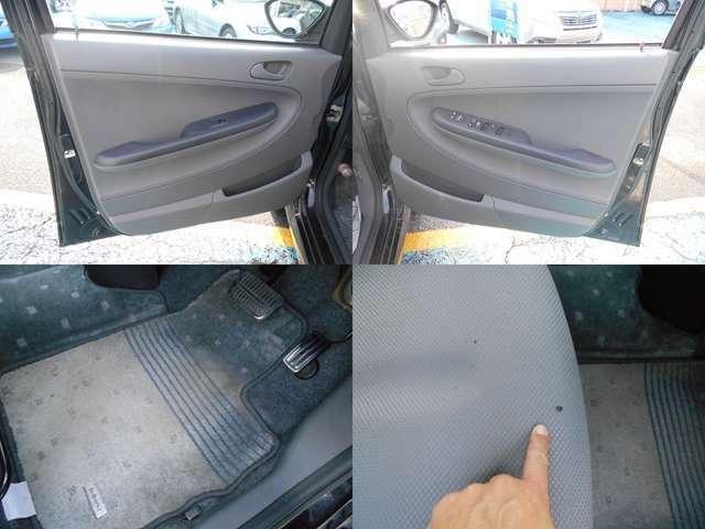 内装カラーはブラック&グレーです!!内装で気になる箇所は運転席座面の焦げ穴です!!ご遠方等にお住まいで現車確認出来ない方は要チェックです!!!